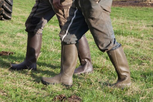 Handmade farming boots with tyre tread sole for maximum grip