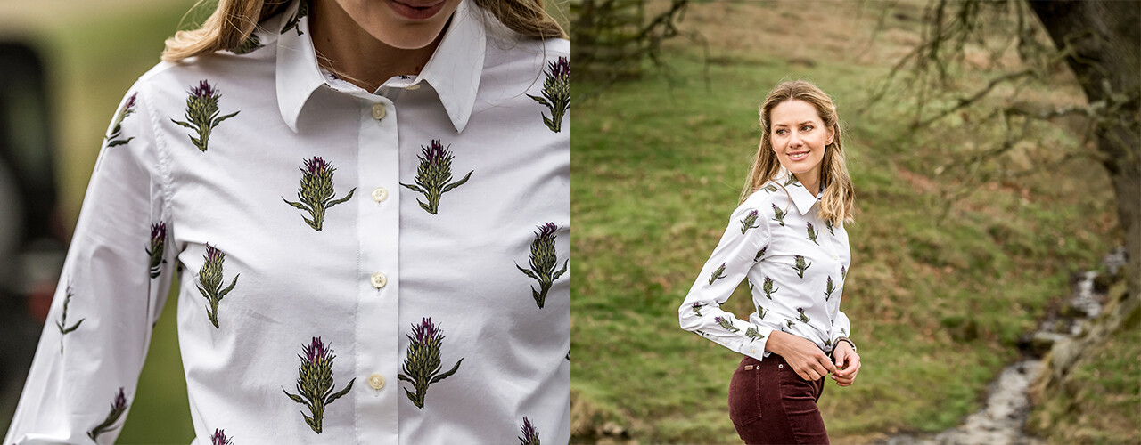 Norfolk Shirt in Thistle Print