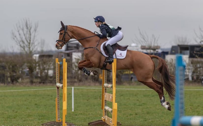 A chocolate fuelled Heidi on her way to coming 2nd in the Intermediate at Oasby Horse Trials (Photo courtesy of William Carey).