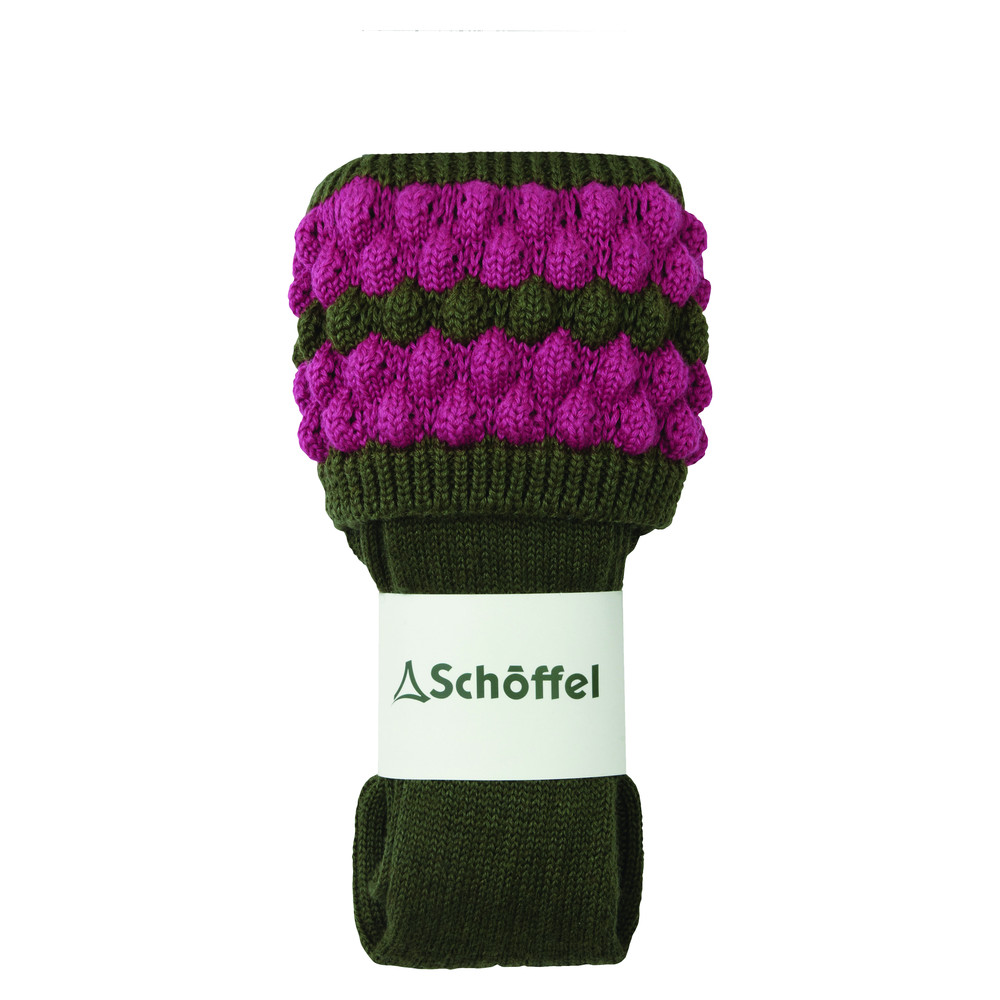 Ladies Bobble Sock Forest/Pink