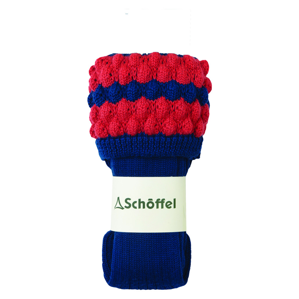 Ladies Bobble Sock Mid Blue/Coral