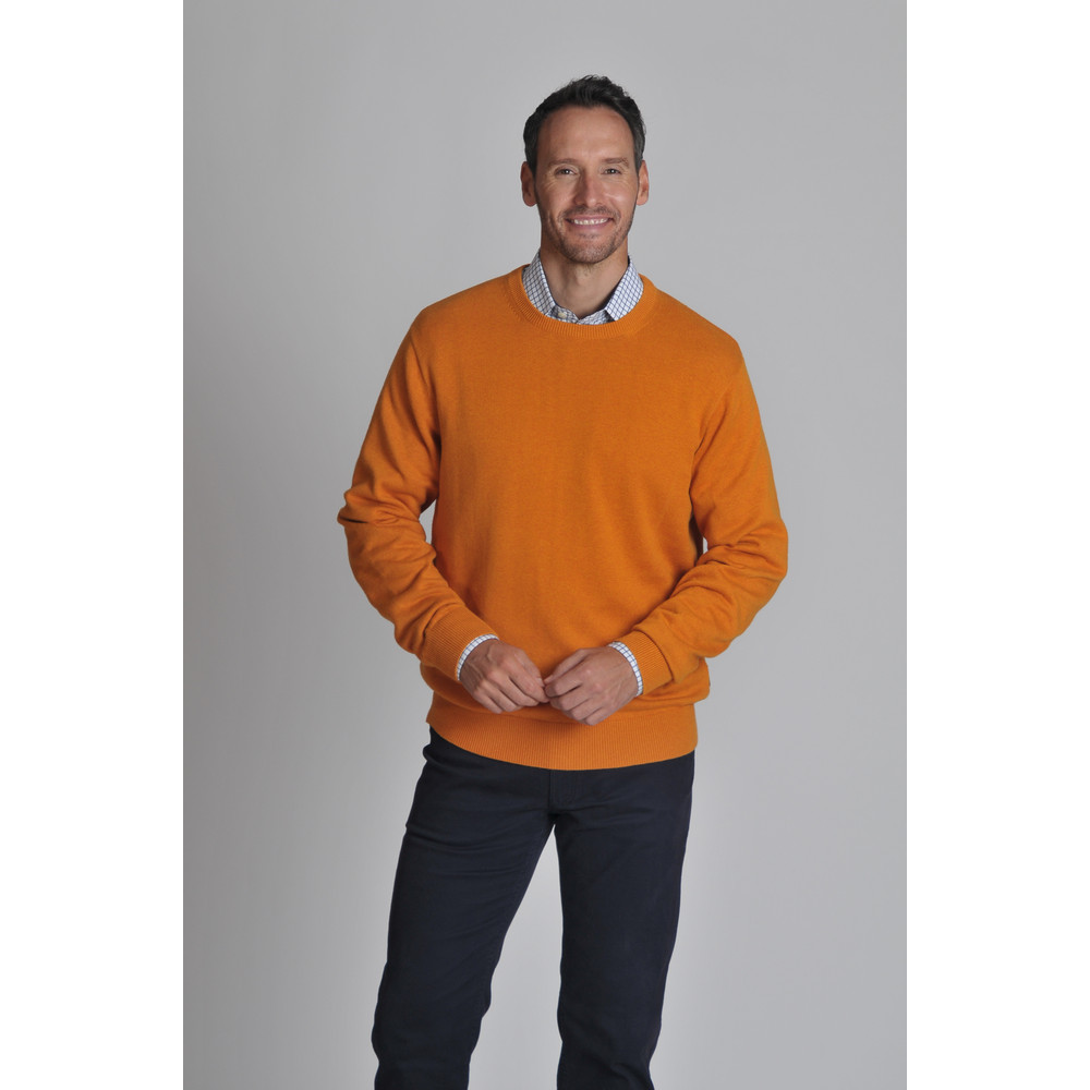 Cotton Cashmere Crew Jumper Ochre