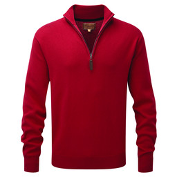Schoffel Country Cotton Cashmere 1/4 Zip Jumper in Rich Red