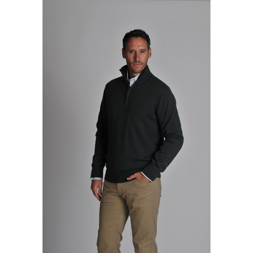 Cotton Cashmere 1/4 Zip Jumper Forest