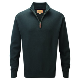 Schoffel Country Cotton Cashmere 1/4 Zip Jumper in Forest
