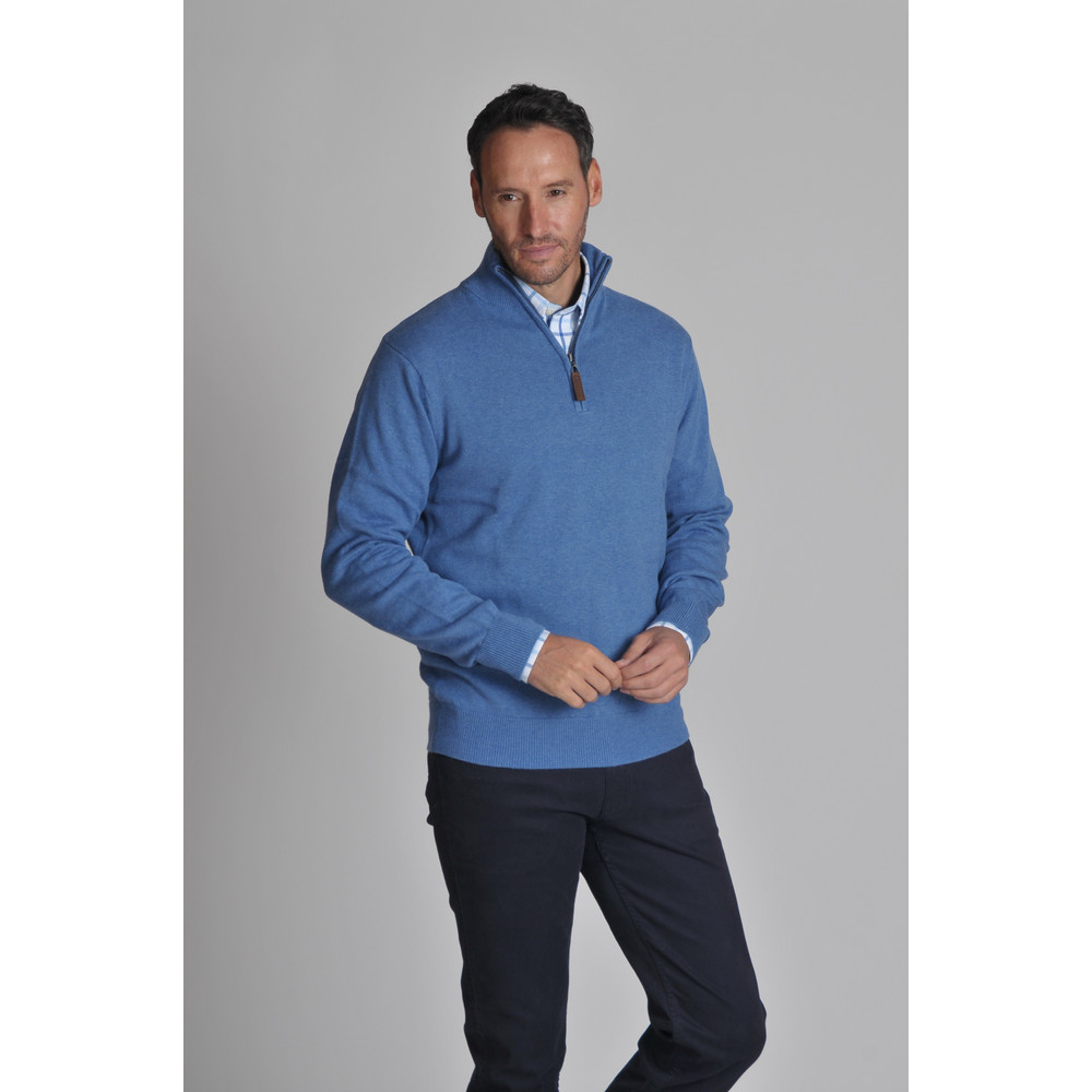 Cotton Cashmere 1/4 Zip Jumper Denim
