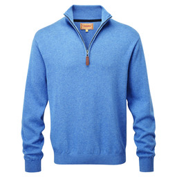 Schoffel Country Cotton Cashmere 1/4 Zip Jumper in Denim