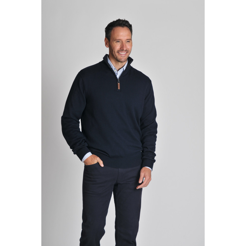 Cotton Cashmere 1/4 Zip Jumper Navy Blue
