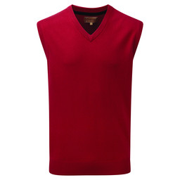 Schoffel Country Cotton Cashmere Sleeveless V Neck Jumper in Rich Red