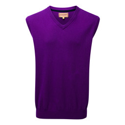 Schoffel Country Cotton Cashmere Sleeveless V Neck Jumper in Plum