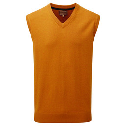 Schoffel Country Cotton Cashmere Sleeveless V Neck Jumper in Ochre