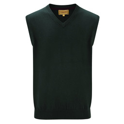Schoffel Country Cotton Cashmere Sleeveless V Neck Jumper in Forest
