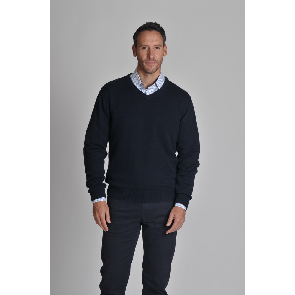 Cotton Cashmere V Neck Jumper Navy Blue