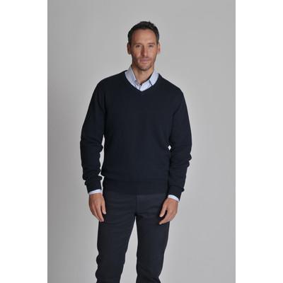 Cotton Cashmere V Neck Jumper Navy Blue