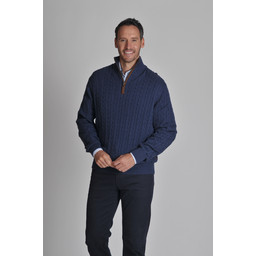 Cotton Cashmere Cable 1/4 Zip Jumper