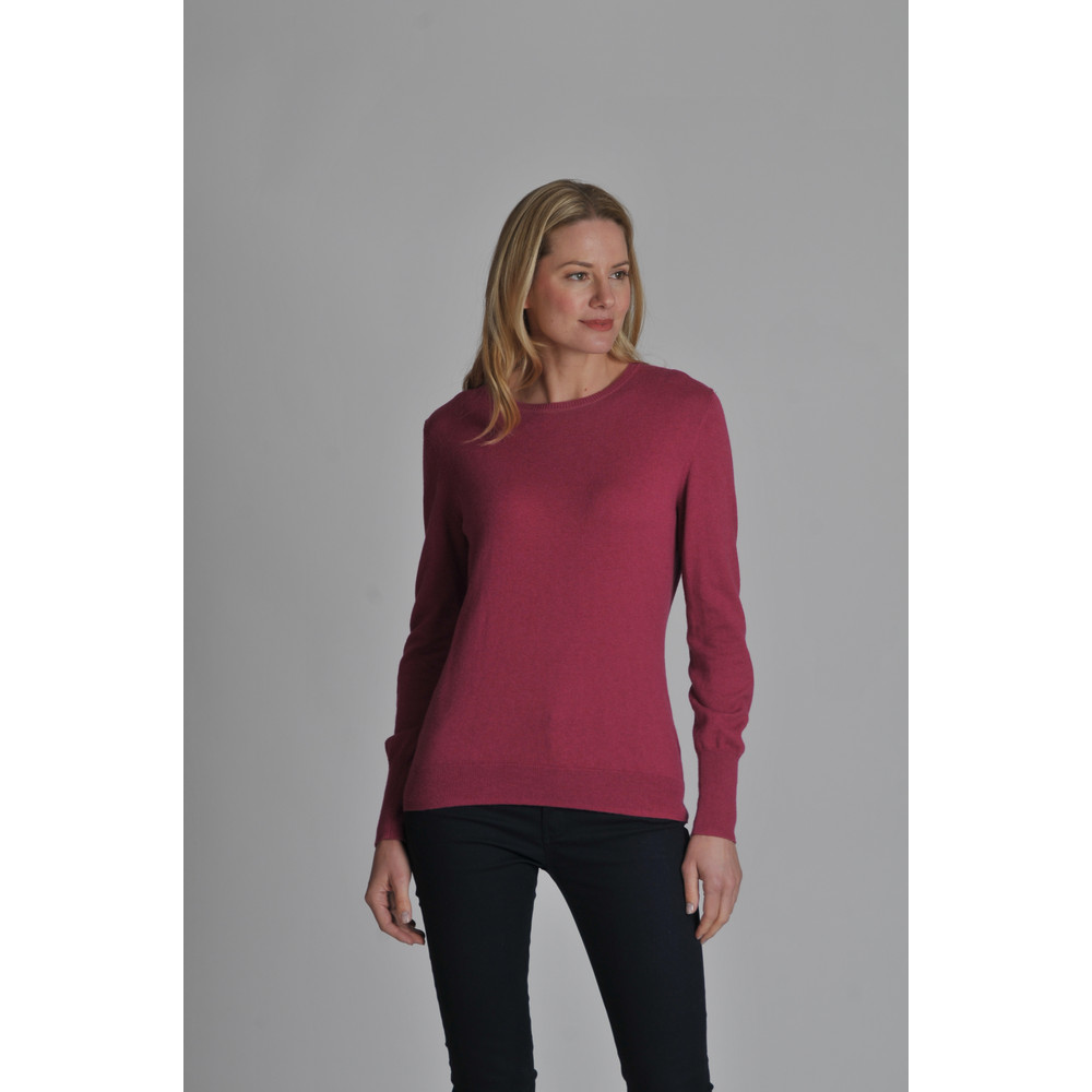 Cotton Cashmere Crew Neck Raspberry