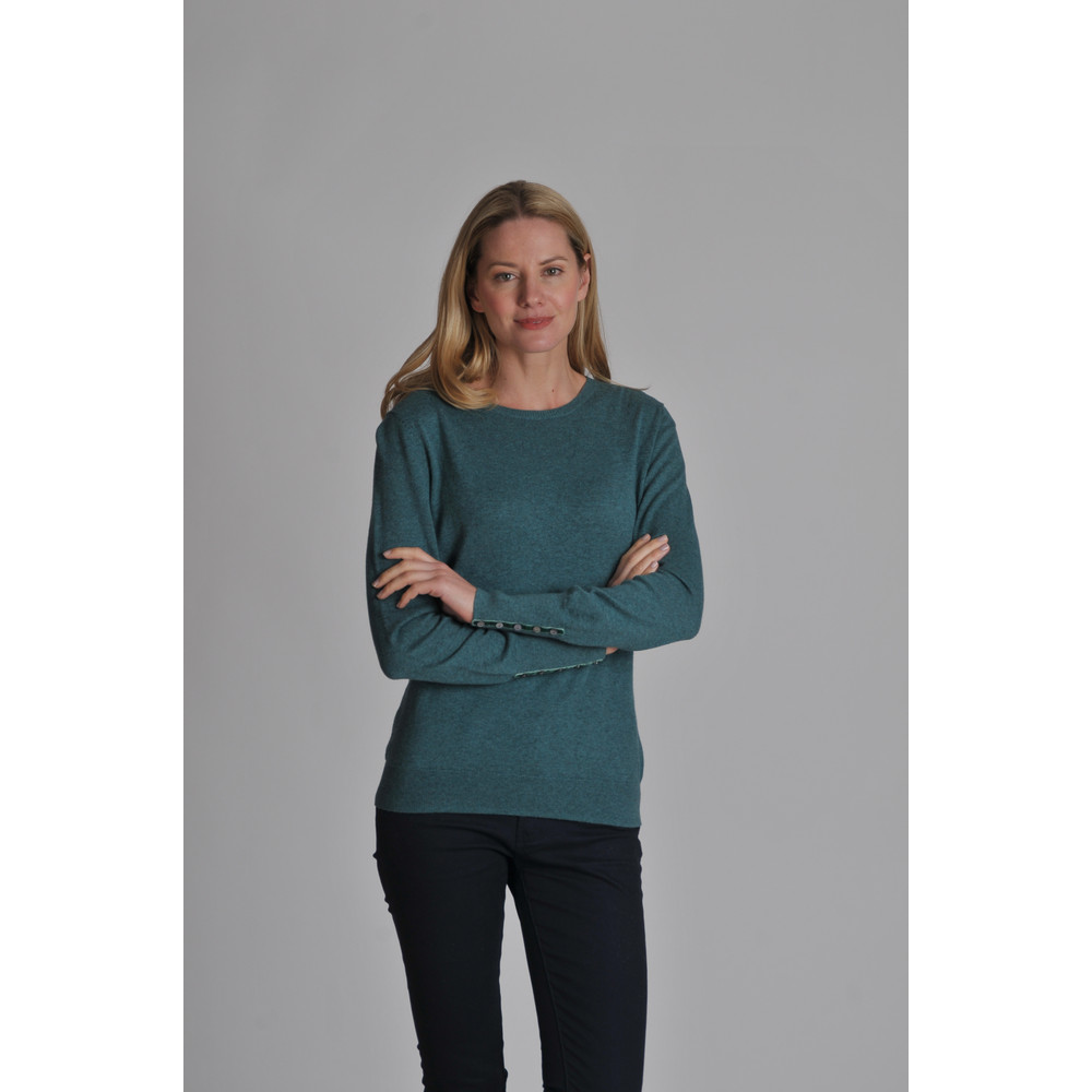 Cotton Cashmere Crew Neck Kingfisher