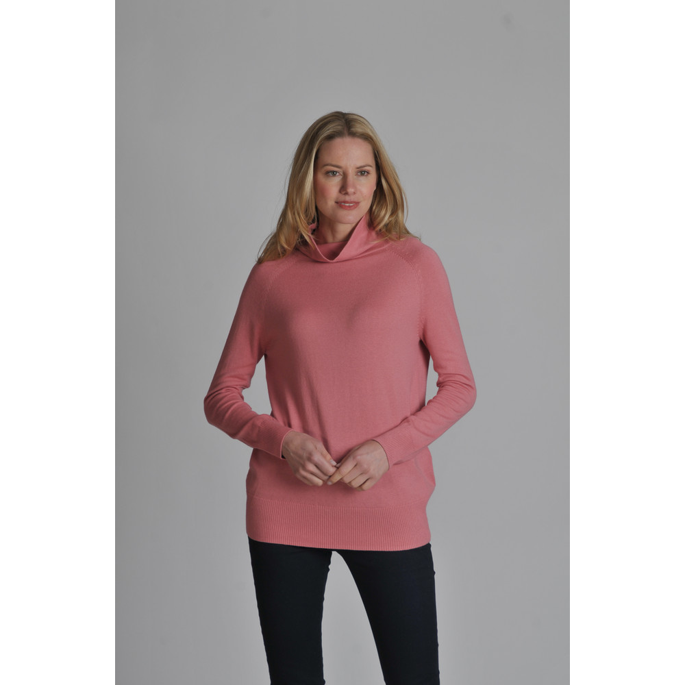 Cotton Cashmere Turtle Neck Rose