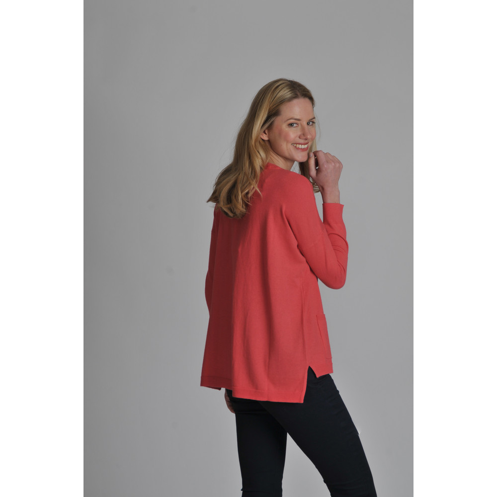 Cotton Cashmere Crew With Pockets Coral