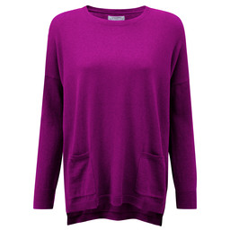 Schoffel Country Cotton Cashmere Crew With Pockets in Raspberry