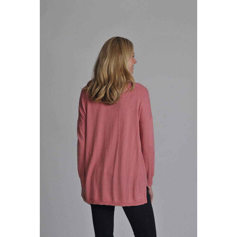 Cotton Cashmere Crew With Pockets Rose
