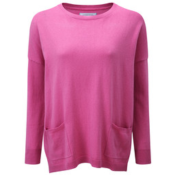 Schoffel Country Cotton Cashmere Crew With Pockets in Rose