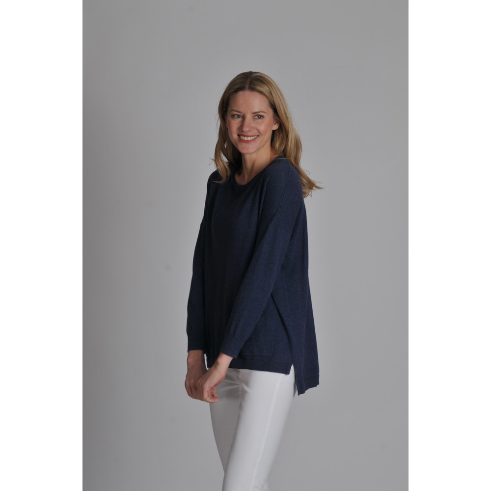 Cotton Cashmere Crew With Pockets Indigo