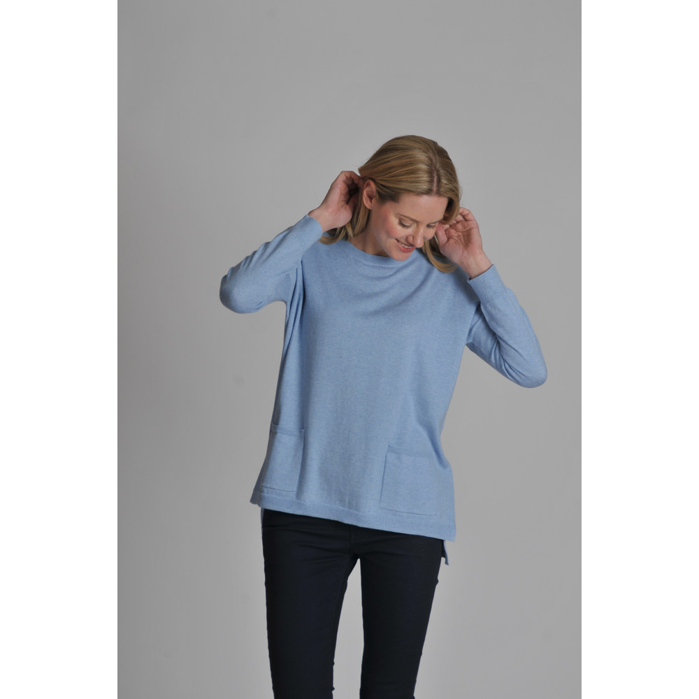 Cotton Cashmere Crew With Pockets Sky Blue
