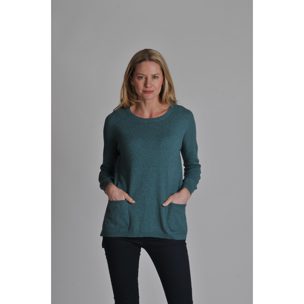 Cotton Cashmere Crew With Pockets Kingfisher