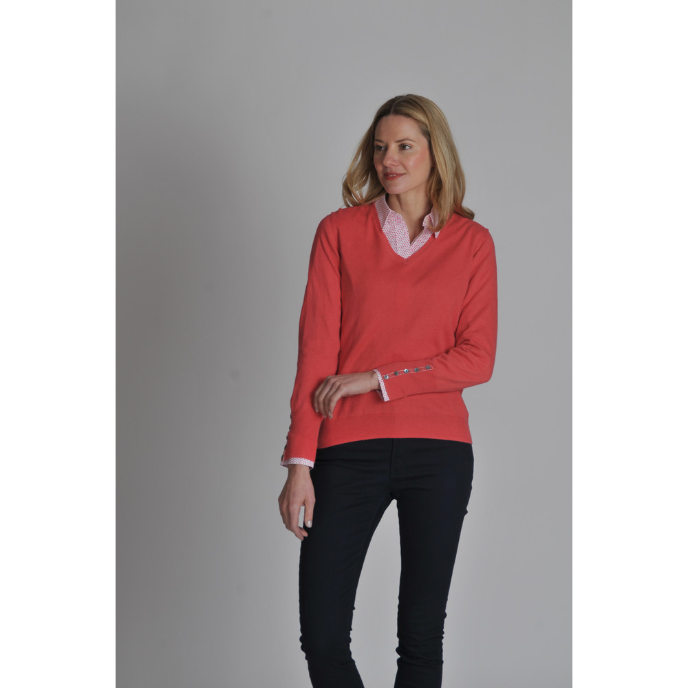 Cotton Cashmere V Neck Coral