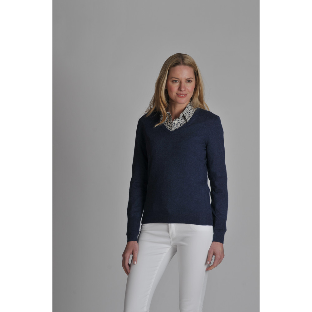 Cotton Cashmere V Neck Indigo