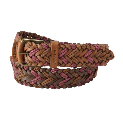 Woven Leather Belt Tan/Rose