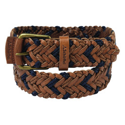 Schoffel Country Woven Leather Belt in Tan/Navy