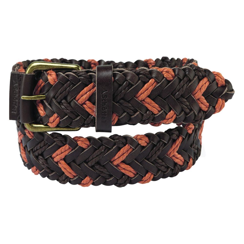 Woven Leather Belt Brown/Ochre