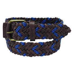 Schoffel Country Woven Leather Belt in Brown/Blue