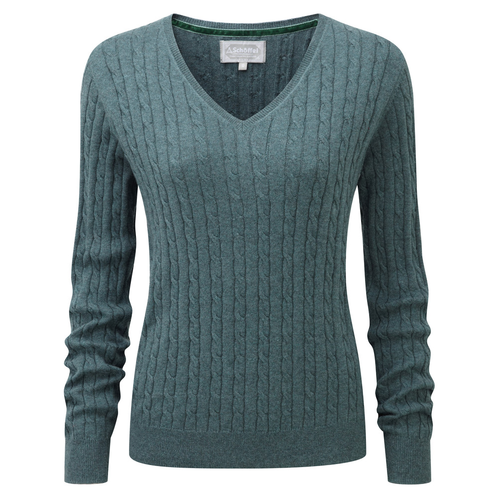 Cotton Cashmere Cable V Neck Kingfisher