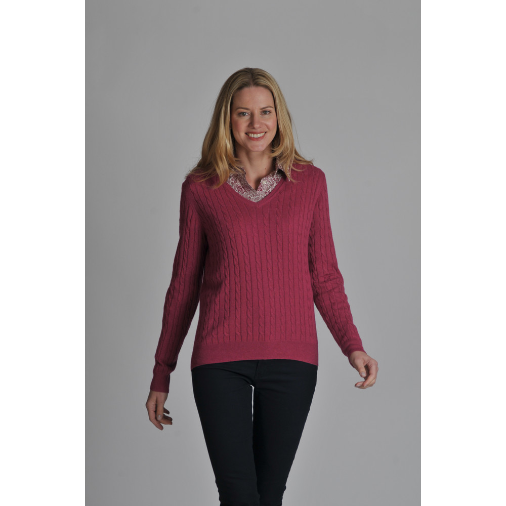 Cotton Cashmere Cable V Neck Raspberry