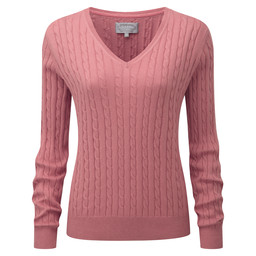 Cotton Cashmere Cable V Neck