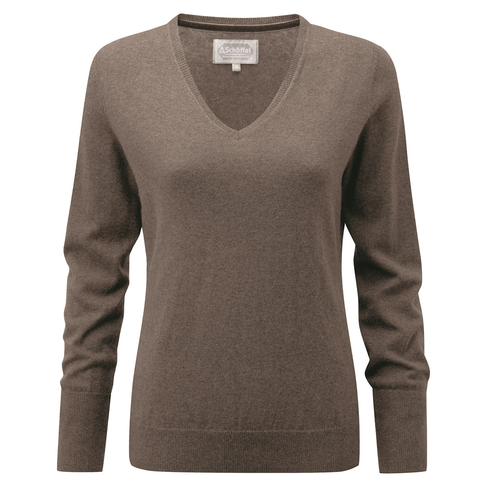 Cotton Cashmere V Neck Mink