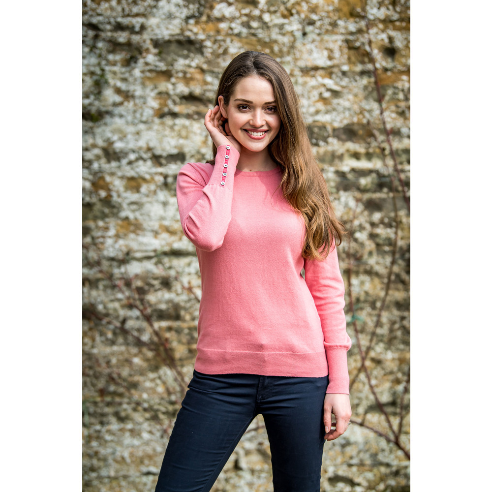 Cotton Cashmere Crew Neck Rose