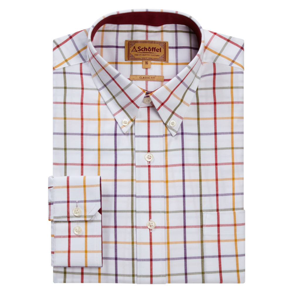 Brancaster Shirt Red/Purple/Must/Olive Wide