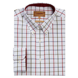 Brancaster Classic Shirt Red/Navy/Olive Wide