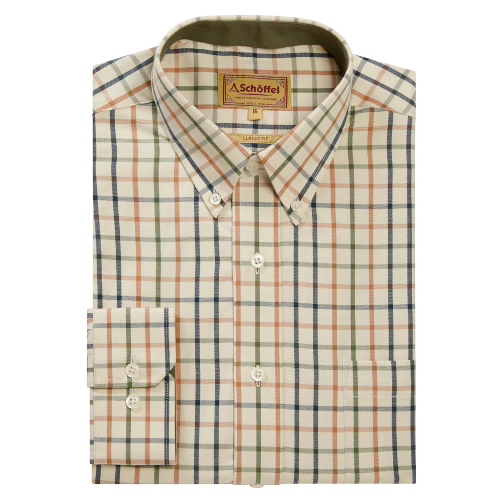 Brancaster Classic Shirt Dark Olive/Brick