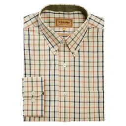 Schoffel Country Brancaster Classic Shirt in Dark Olive/Brick