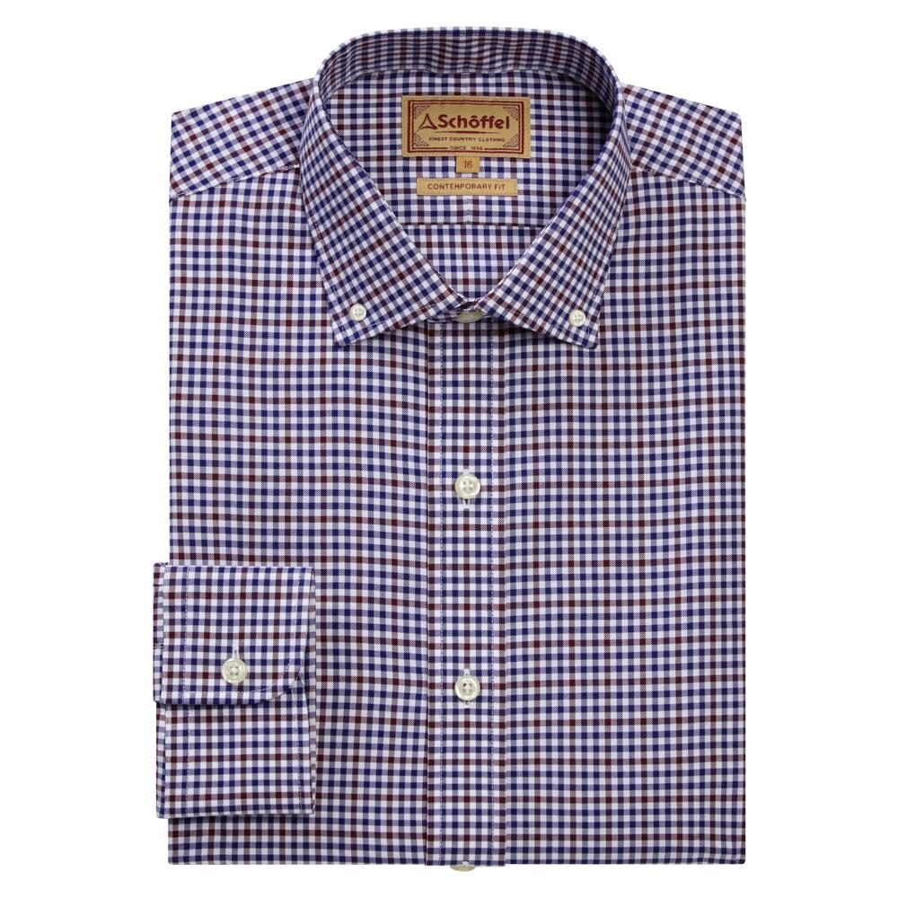 Burnsall Shirt Navy/Fig Micro