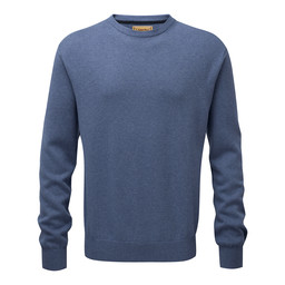 Schoffel Country Cotton Cashmere Crew Jumper in Stone Blue