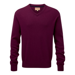 Schoffel Country Cotton Cashmere V Neck Jumper in Fig