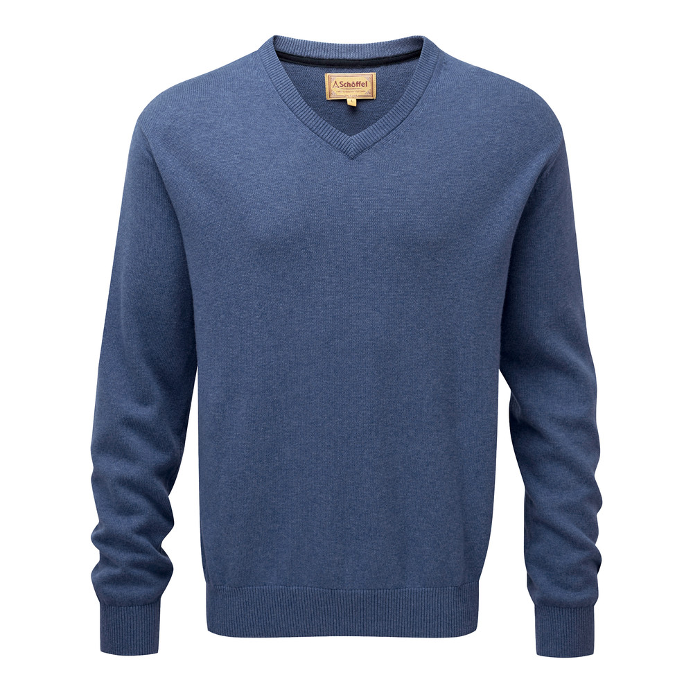 Cotton Cashmere V Neck Jumper Stone Blue