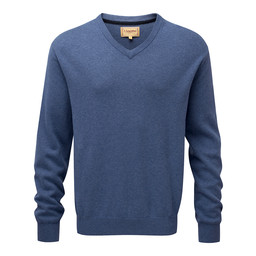 Schoffel Country Cotton Cashmere V Neck Jumper in Stone Blue