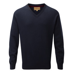 Schoffel Country Cotton Cashmere V Neck Jumper in Navy Blue